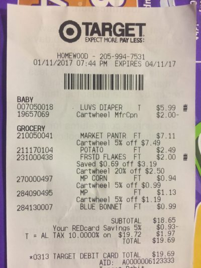 Receipt for Cheap Diapers