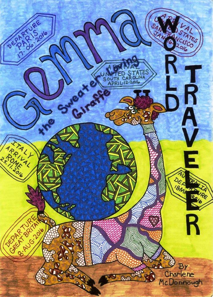 Gemma the Sweater Loving Giraffe World Traveler - by Charlene McDonnough