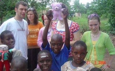 Charlene in Uganda with family in 2008