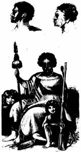 Австралиец и новозеландцы:  наверху: слева — туземец из залива Короля Георги (юго-западная Австралия); справа - новозеландец; внизу - новозеландцы  Два верхних рисунка Р. Фиц-Роя; нижний рисунок О. Эрла