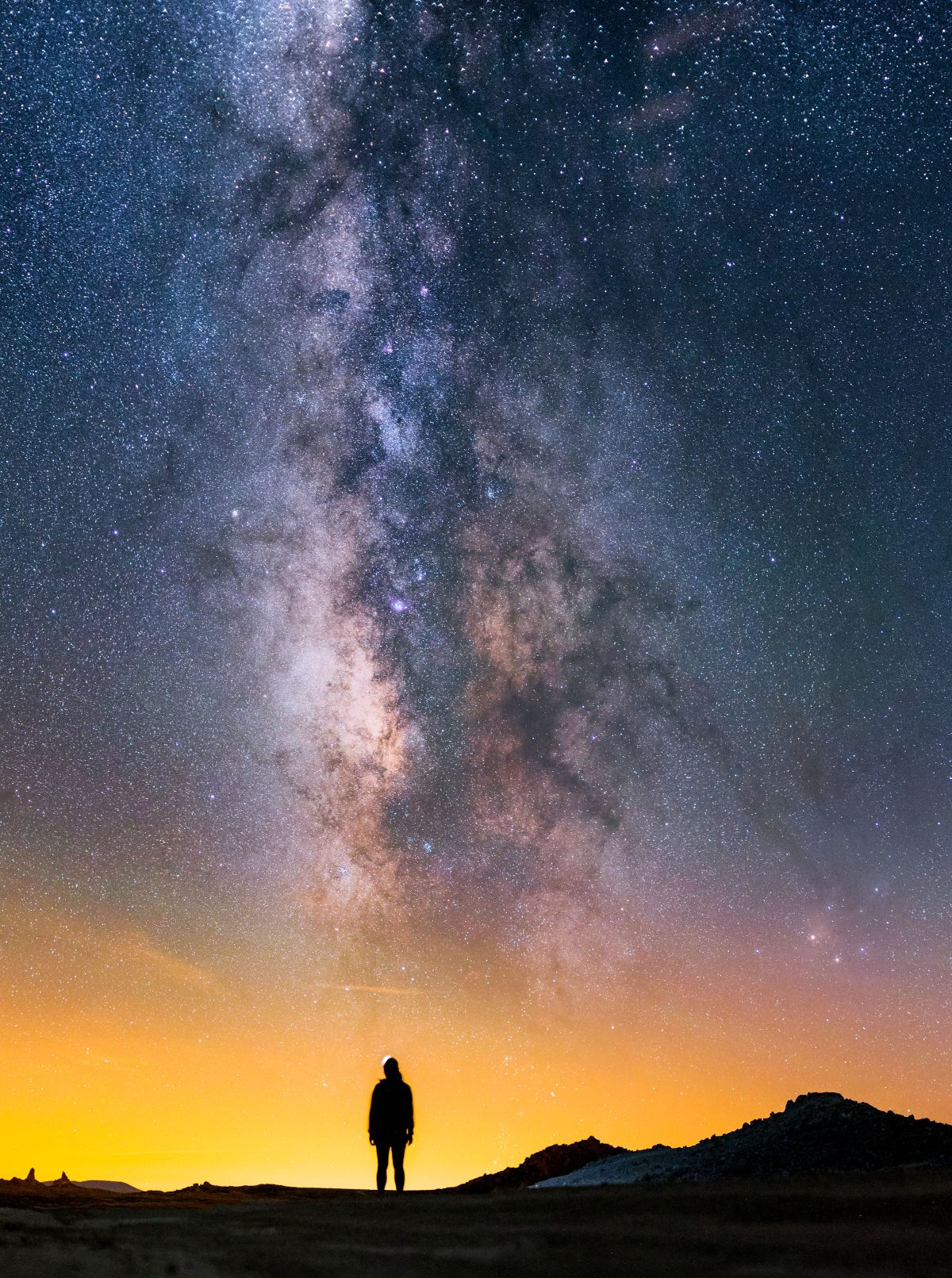 Detail: Milky Way above Trona Pinnacles National Landmark.