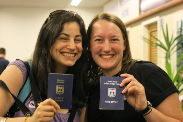 Immigrants to Israel holding Israeli documents (left, Israeli passport; right Israeli