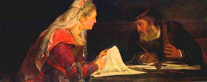 Esther and Mordechai conferring.