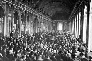 Interior of the Palace des Glaces during the signing of the Peace Terms. Versailles, France on June 28, 1919.