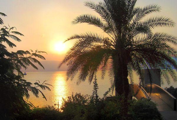 Sunrise over the Sea of Galilee.