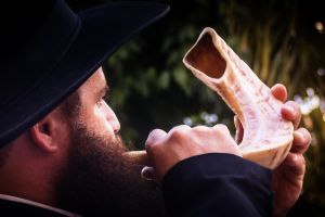 Blowing the Shofar for Rosh Hashanah.