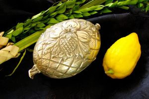 The Four Species with an exquisite silver etrog box.