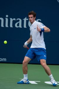 Andy Murray hitting a forehand while playing Roger Federer johnwnguyen