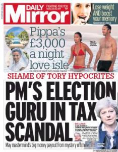 Daily Mirror tax scandal front page - Researching The Breaking of Liam Glass
