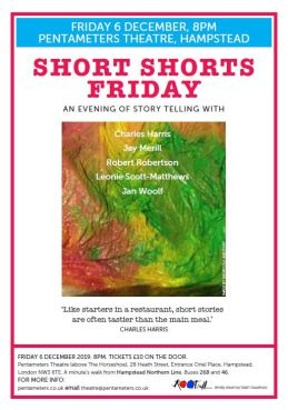Poster for Short Shorts Friday - 8pm Dec 6th Pentameters Theatre - Panto Season for writers