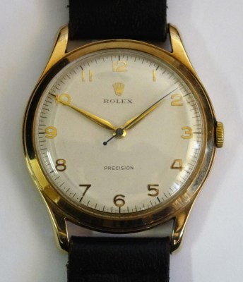 Lot 337: A 1950's 9ct gold Rolex Precision wristwatch