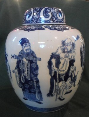 Lot 109: Large Chinese Blue & White Ginger Jar