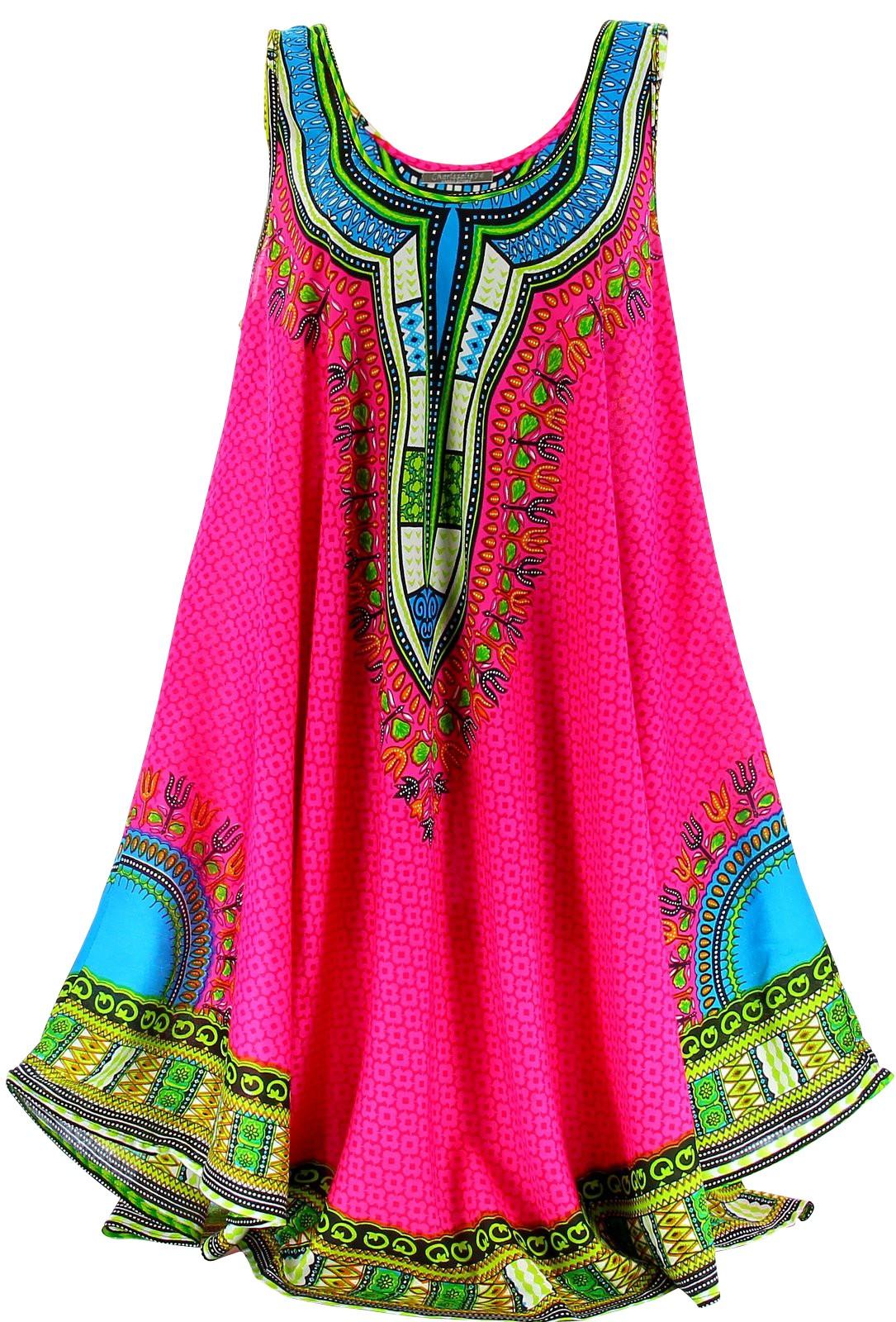 Robe T Ethnique Grande Taille Bohme Fushia INCAS