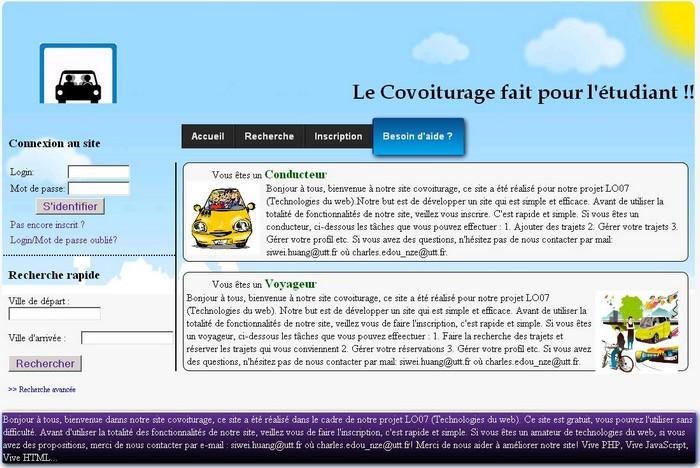 Screenshot du sitede covoiturage