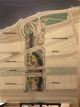 Design proposal from Landing Studios showing named areas of Charlesgate