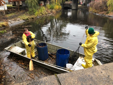 Removing debris from the Muddy River