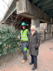 Margaret Pokorny and worker from Cambridge Landscaping