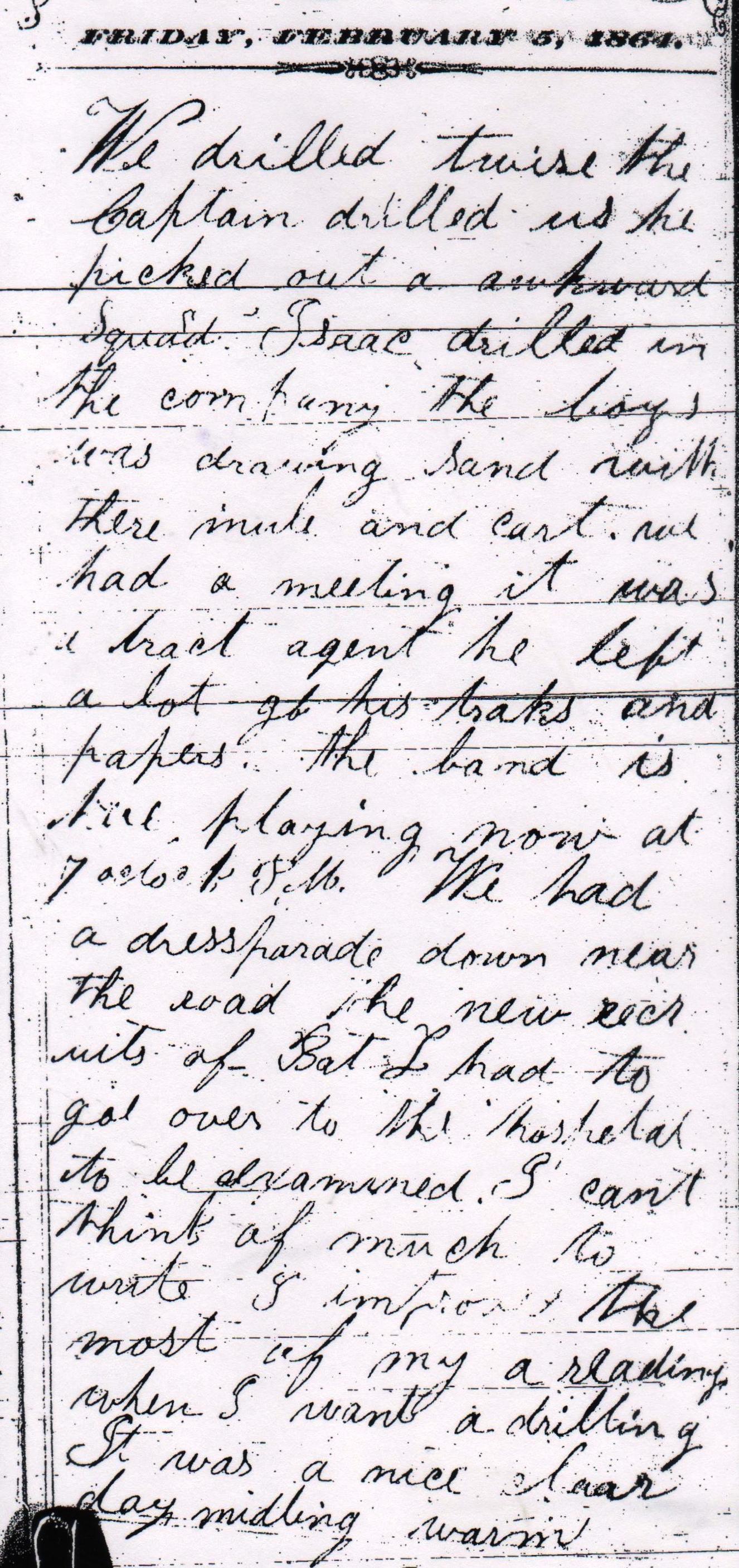 February Charles Hadsall Diary