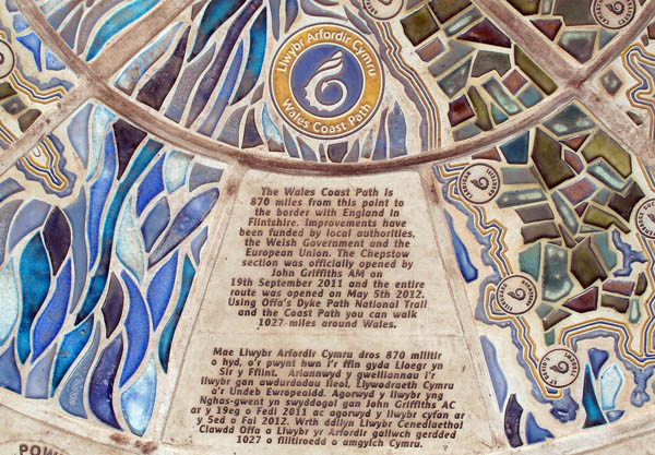 Part of cermaic compass by Ned Heywood at the start of The Wales Coast Path. Photograph by Charles Hawes