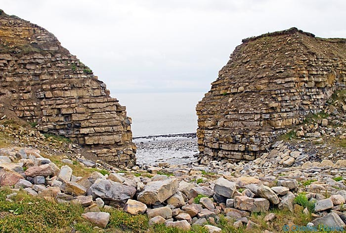 Limestone Cliffs near Rhoose Point, Glamorgan on The Wales Coast Path. Photograph by Charles Hawes. Walking in Wales.