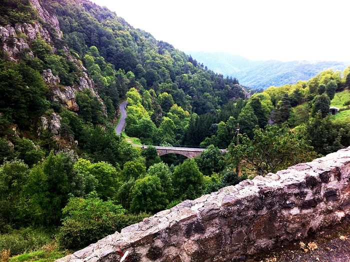 St Privat D'Allier, photgraphed from the way of St James, France. GR65. Route Saint Jacques.