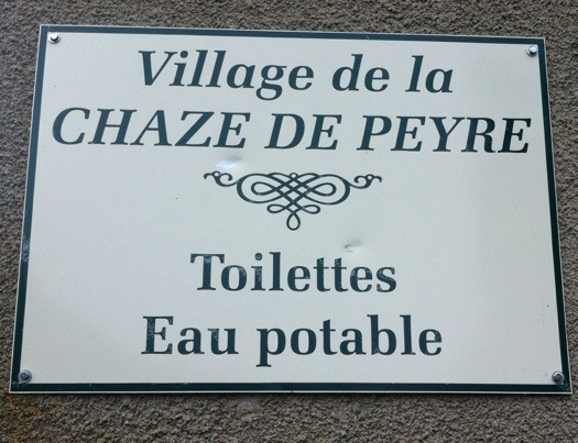 Sign at Chaze de la Peyre on the way of St James, photographed by Charles Hawes. Route St Jacques. GR65