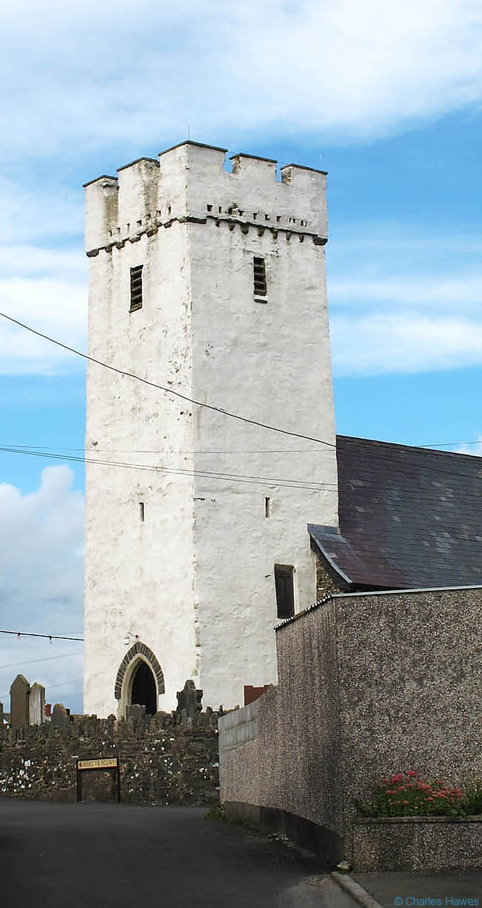 Church at Llansaint on the Wales Coast Path, photographed by Charles Hawes. Walking in Wales.