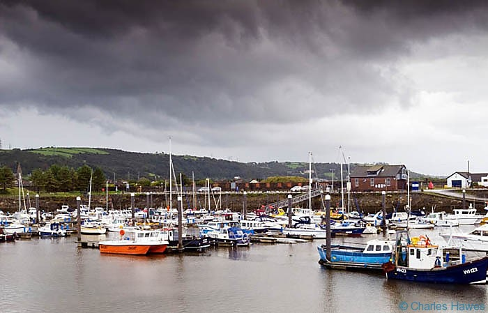 Burry Port photographed on The Wales Coast path between Llanelli and Kidwelly by Charles Hawes. Walking in Wales.