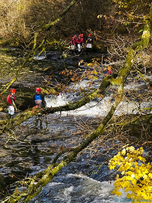 Swimmers on the River Mellte in Powys, Wales. November, photograh by Charles Hawes. Walking in Wales.