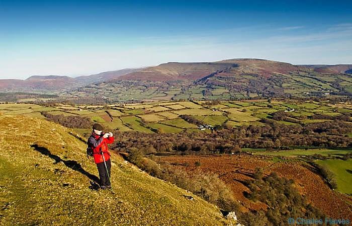 Walking on Mynydd Llangatwg, near Crickhowell, Powys, photographed by Charles Hawes