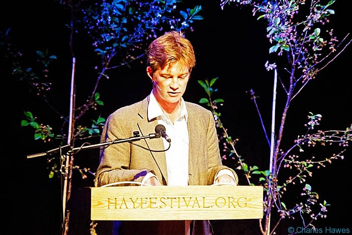 Horatio Clare introducing one of the events at The Hay-on-Wye Festival 2013. Photograph by Charles Hawes