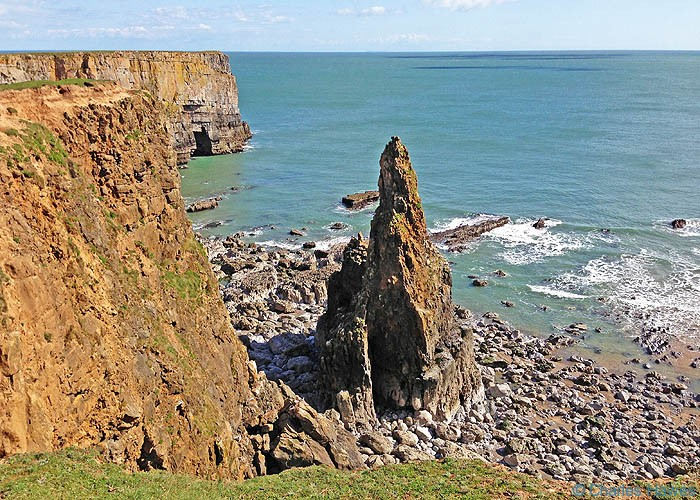 Feature off the Pembrokeshire Coast near Stackpole, taken from the Wales Coast Path by Charles Hawes
