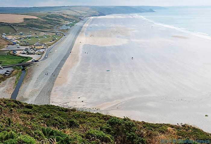 View onto Newgale Sands, Pembrokeshire, photographed from The Wales Coast path by Charles Hawes