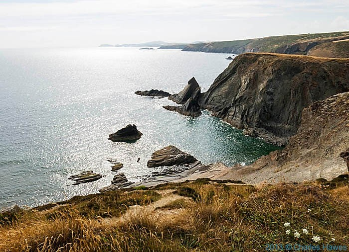 Rocky outcrop off the Pembrokeshire Coast photographed from The Wales Coast path by Charles Hawes