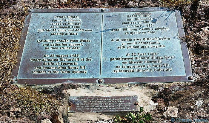 Plaque commemorating the landing of Henry Tudor at Mill Bay in Pembrokeshire, photographed from The Wales Coast Path by Charles Hawes