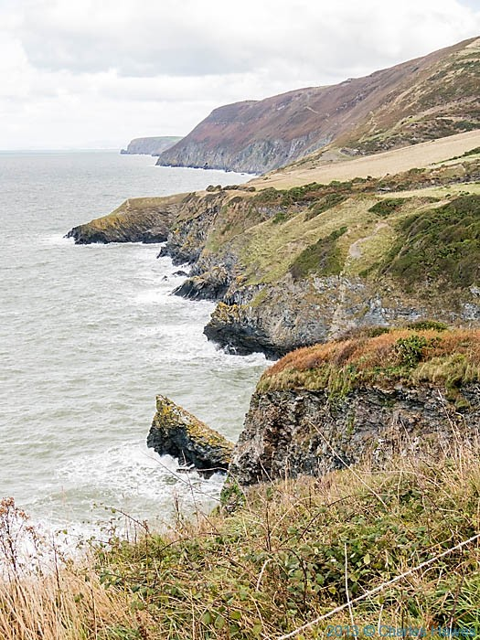 View along the Wales Coast Path in Cerdigion from near the Urdd centre towards Cwmtydu