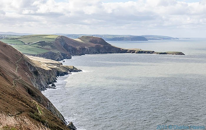 View to Ynys Lochtyn from near the highest point of the Ceredigion Coast path near Cwmtydu, photographed by Charles Hawes