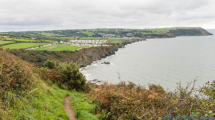 View south along the Wales Coast Path (Ceredigion Coast Path) approaching Tresaith and Aberporth, photographed by Charles Hawes