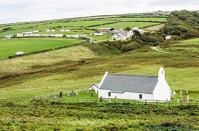 Church of The Holy Cross, Mwnt, photographed from The wales Coast path by Charles Hawes