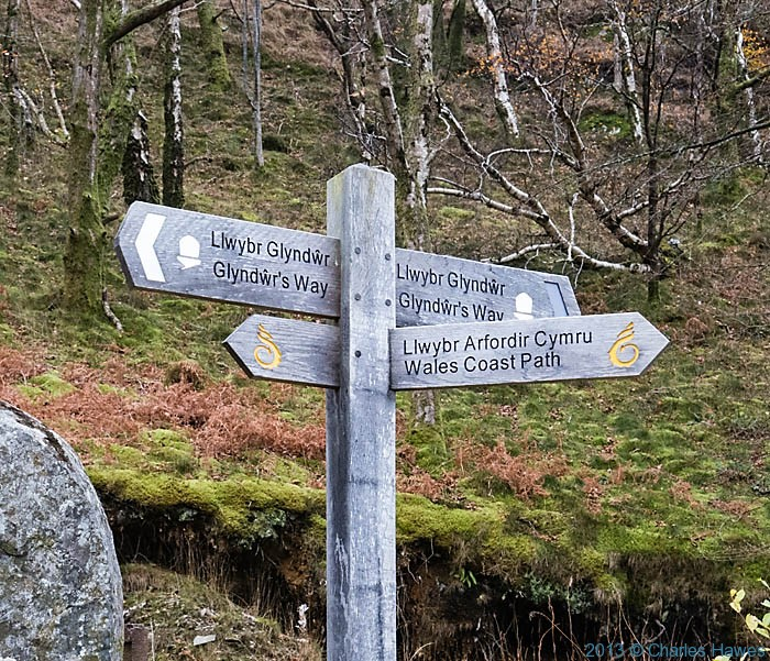 Finger Post where The Wales Coast Path joins Glyndwr's Way near Machynlleth