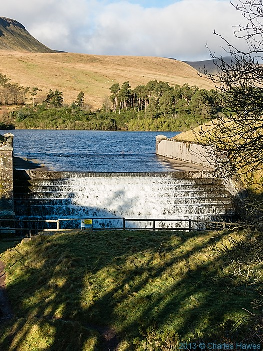 Weir at the Lower Neuadd reservoir, Brecon Beacons National Park, photographed by Charles Hawes