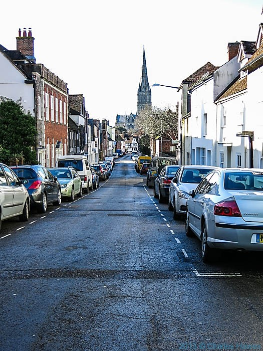 View down St Ann street to Salisbury cathedral, photographed by Charles Hawes