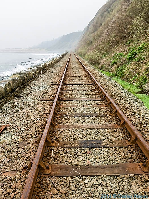 Railway line at Llandanwg, photographed by Charles Hawes