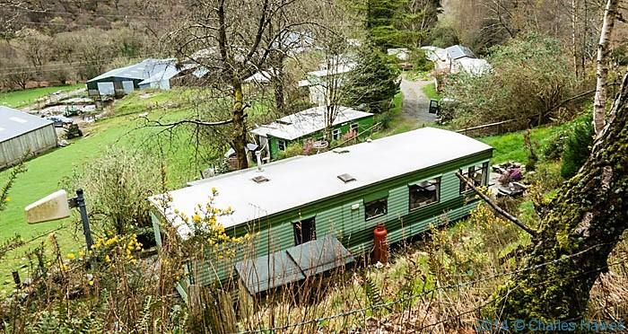 Caravan site at Felinrhyd Fach, Gwynedd, photographed from The Wales Coast Path by Charles Hawes