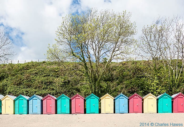Beach Huts at Llanbedrog, photographed from The Wales Coast Path by Charles Hawes