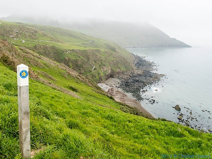Wales Coast Path marker post at Nant-y-Gadwen, photographed by Charles Hawes