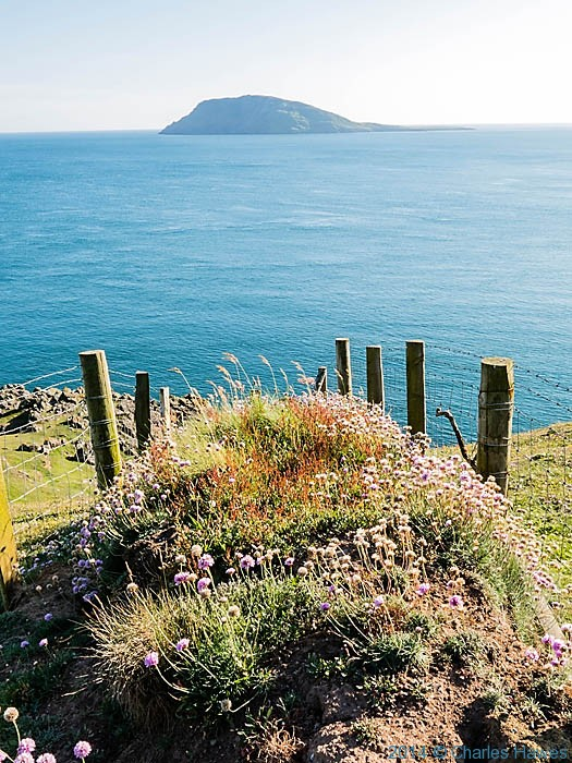 View to Bardsey Island from near Mynydd Bychestyn , Lleyn peninsula, photographed from The Wales Coast Path by Charles Hawes