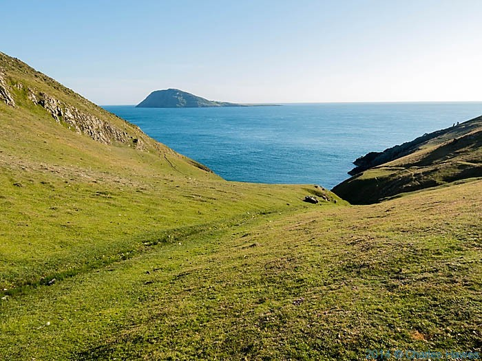 View to Bardsey Island from above St Mary's Well photographed from The wales Coast path by Charles Hawes