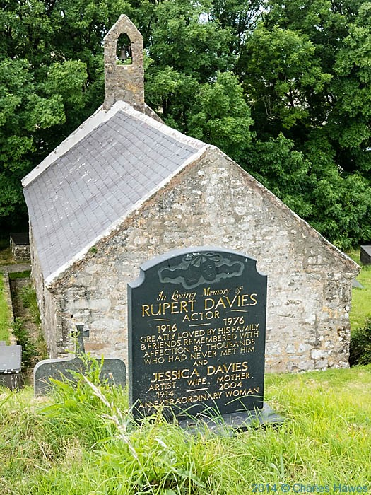 Headstone of actor Rupert Davies, in St Beuno's church, Pistyll, photographed from The wales Coast Path by Charles Hawes