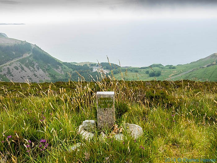 Memorial to Wyn Davies, photographed from the Wales Coast path at Yr Eifl by Charles Hawes